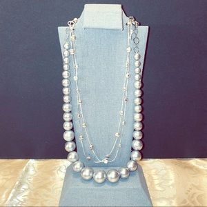 Grey pearl necklace with bonus silver necklace